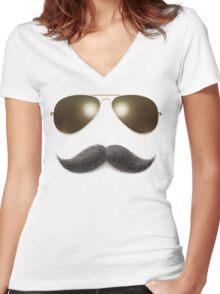 Easy Mustache Rider Women's Fitted V-Neck T-Shirt