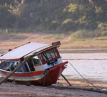 Marooned boat, Nam Khan River by indiafrank