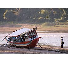 Marooned boat, Nam Khan River Photographic Print