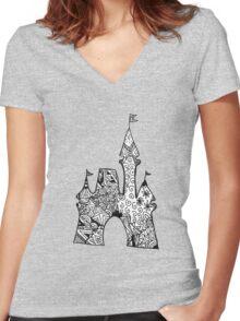 Castle Doodle Women's Fitted V-Neck T-Shirt