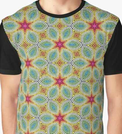 Pink Stars with Yellow Flowers Pattern Graphic T-Shirt