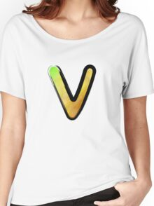 Watercolor - V - yellow Women's Relaxed Fit T-Shirt