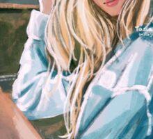 Girl at Beach Sticker