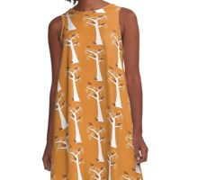 Five Thanksgiving Turkeys in a Tree A-Line Dress