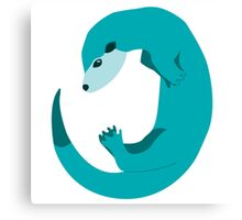 Blue Otter Swimming  Canvas Print