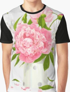 Pink Peonies Fine Floral  Graphic T-Shirt
