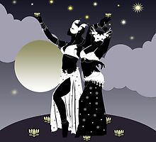 The Dancers and the Moon on the Rise by theatticshoppe