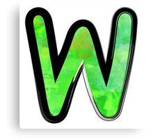 Watercolor - W - green Canvas Print