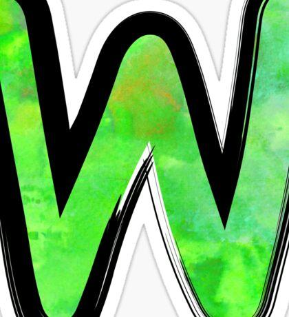 Watercolor - W - green Sticker