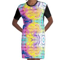 Suminagashi Graffiti Graphic T-Shirt Dress