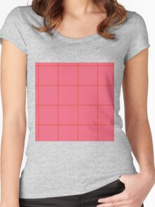 Citymap Grid - Coral/Airline Orange Women's Fitted Scoop T-Shirt