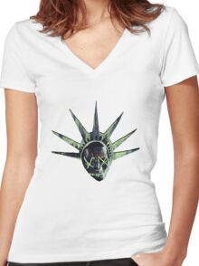 THE PURGE: liberty MASK Women's Fitted V-Neck T-Shirt