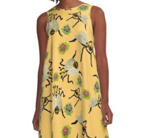 Felt Dancing Bee Sculptures A-Line Dress