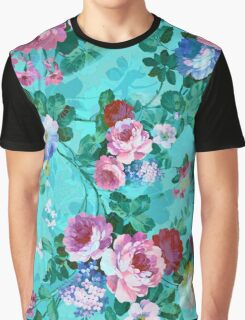 Colorful Pastel Flowers On Turquoise Blue Background Graphic T-Shirt