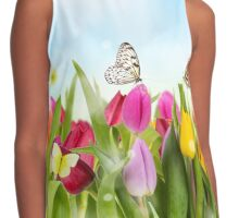 Tulips and Butterflies Contrast Tank