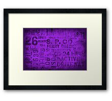 Grungy typo purple Framed Print