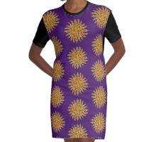 Golden Crown Thing with Jewels Graphic T-Shirt Dress