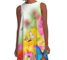 Bright Flowers and Butterflies A-Line Dress