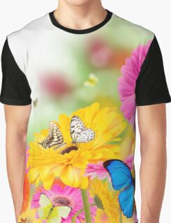 Bright Flowers and Butterflies Graphic T-Shirt