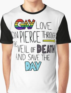 """Ghostfacers """"Gay Love"""" Quote Graphic T-Shirt"""
