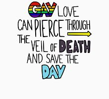 """Ghostfacers """"Gay Love"""" Quote Men's Baseball ¾ T-Shirt"""