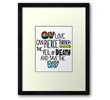 "Ghostfacers ""Gay Love"" Quote Framed Print"