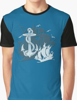 Pirate Ships & Anchor White Silhouette Graphic T-Shirt