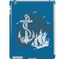 Pirate Ships & Anchor White Silhouette iPad Case/Skin