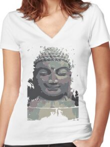 Cool Grey Buddha/Buddhist Women's Fitted V-Neck T-Shirt