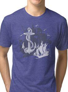 Pirate Ships & Anchor White Silhouette Tri-blend T-Shirt