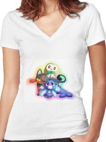 Pokemon Generation 7 Starters Women's Fitted V-Neck T-Shirt