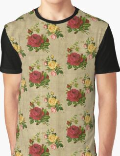 Vintage Red Yellow Peach Roses Gold Silver Glitter Stripes Graphic T-Shirt
