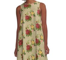 Vintage Red Yellow Peach Roses Gold Silver Glitter Stripes A-Line Dress