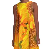 Bright Happy Sunflowers A-Line Dress