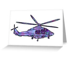 purple and blue helicopter Greeting Card