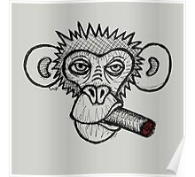 Monkey with cigar Poster
