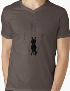 Black Cat Silhouette with Scratches Mens V-Neck T-Shirt
