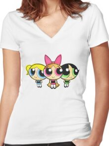 PowerPuff Women's Fitted V-Neck T-Shirt