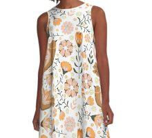 Retro, Vintage Birds and Flowers A-Line Dress
