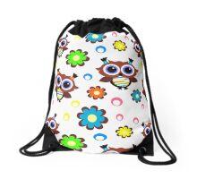 Retro Owls and Flowers Drawstring Bag