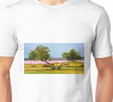 Two trunk tree and the pink lake Unisex T-Shirt