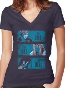 final fantasy 7, ff7, cloud strife, cloud, sephiroth, tifa, avalanche Women's Fitted V-Neck T-Shirt