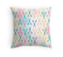 Hair Scissors Pastel Pattern Throw Pillow