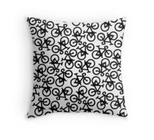Black Multiple Bikes Pattern Throw Pillow
