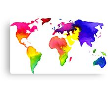 Rainbow Watercolor World Map Canvas Print