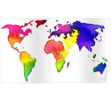 Rainbow Watercolor World Map Poster