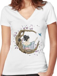 Among the Blossoms. Women's Fitted V-Neck T-Shirt
