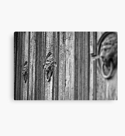 Old door Knockers - monochrome Canvas Print