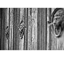 Old door Knockers - monochrome Photographic Print