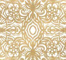 White Gouache Doodle on Gold Paint Sticker